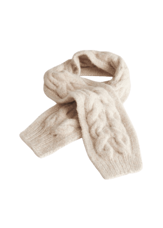 Fuzzy Cable Knit Scarf - Beige - Fall & Winterscarves - & Other Stories