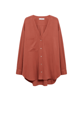 Chest-pocket flowy blouse - Women | Mango USA
