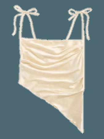 cream Knot Straps Ruched Asymmetrical Hem Satin Cami Top | SHEIN USA