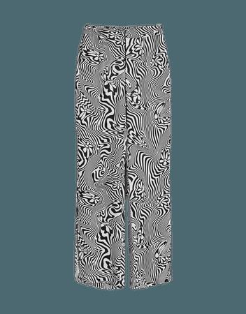 Straight satin printed pants - Pants - Woman | Bershka