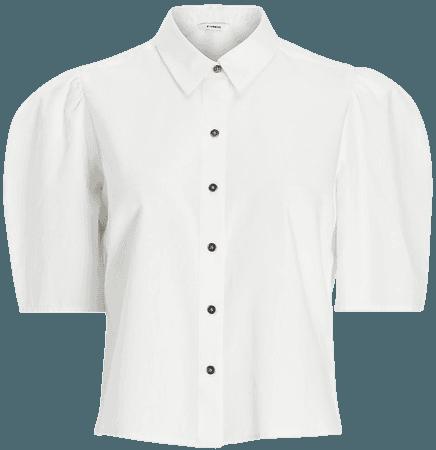 Cropped Puff Sleeve Denim Shirt | Express