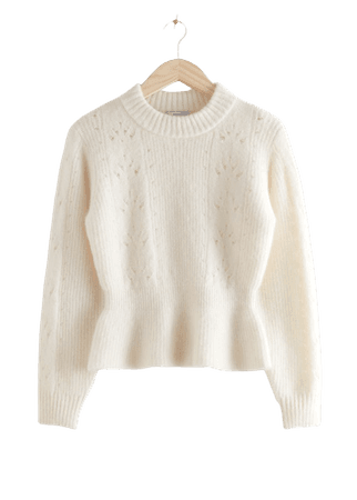 Mock Neck Peplum Knit Sweater - White - Sweaters - & Other Stories
