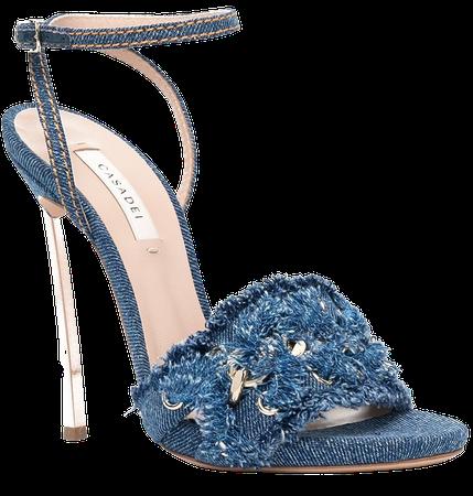 Shop blue Casadei denim high heel sandals with Express Delivery - Farfetch