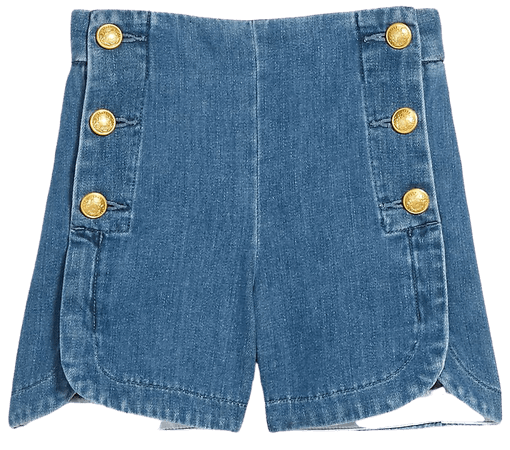 High Waisted Sailor Button Jean Shorts | Express