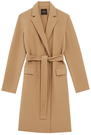 Double-Face Wool-Cashmere Belted Coat | Theory