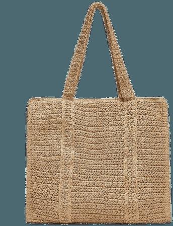 Woven paper maxi tote bag - pull&bear