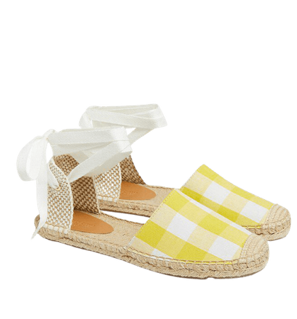 Gingham d'Orsay lace-up espadrilles
