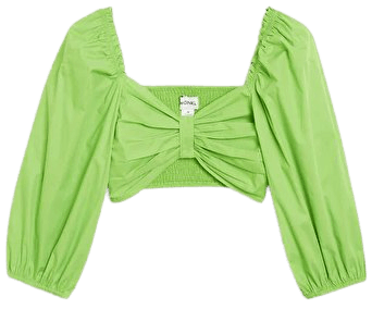 Cropped puff-sleeve blouse - Green - Shirts & Blouses - Monki WW