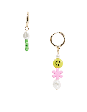 ASOS DESIGN hoop earrings with happy smile face and flower beads in gold tone   ASOS
