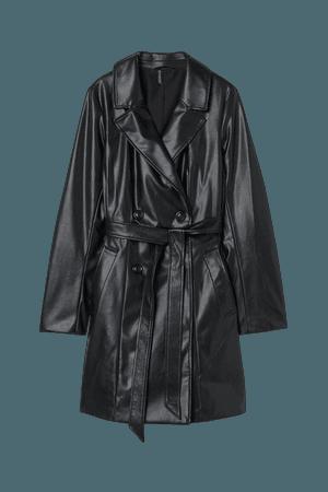Faux Leather Trenchcoat - Black - Ladies | H&M US