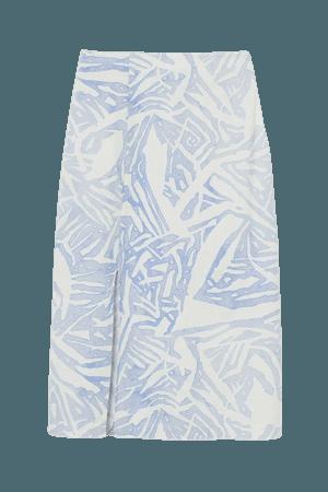 Linen-blend Skirt - White/blue patterned - Ladies   H&M US