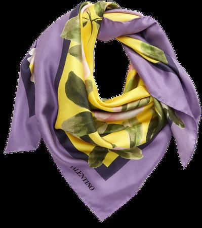 Foulard Floral Print Silk Scarf