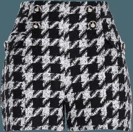 River Island Dogtooth Bouclé Button Shorts   Nordstrom