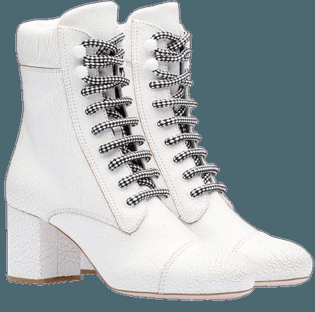 White Miu Miu Contrasting Shoe Laces Boots | Farfetch.com