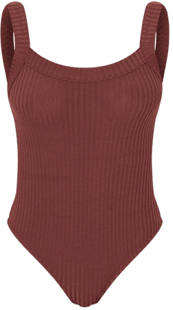 Chocolate Jumbo Rib Thick Strap Sleeveless Bodysuit   PrettyLittleThing