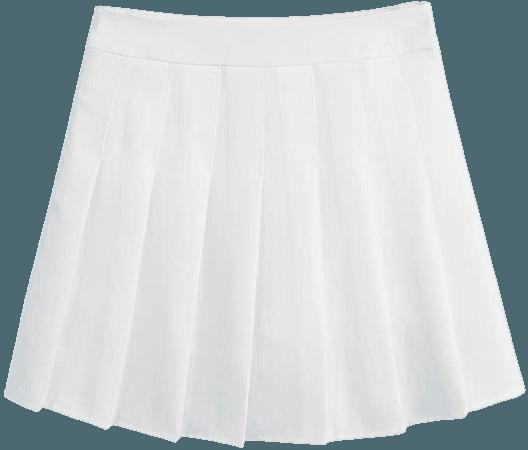 Hoerev Women Girls Short High Waist Pleated Skater Tennis Skirt, US 10, XXL, White at Amazon Women's Clothing store