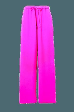 Silk-crepe Wide-leg Pants - Pink