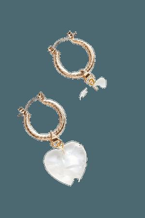 Michah Heart Charm Hoop Earring | Urban Outfitters