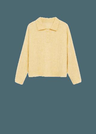 Contrasting knitted polo shirt - Women   Mango USA