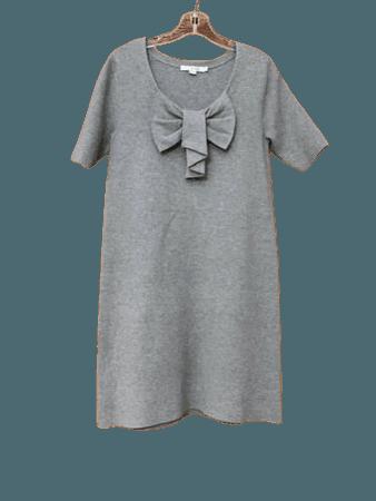 Boden Size 8 Bow Front Knit Dress Gray Short Sleeve Viscose   eBay