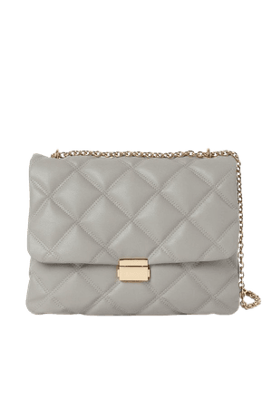 Quilted Shoulder Bag - Gray