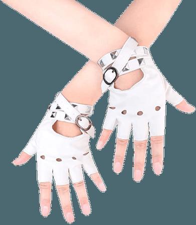White Fingerless Leather Gloves