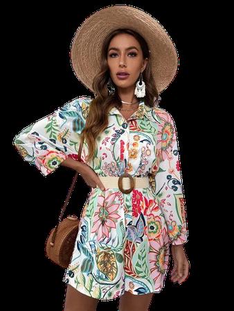 Allover Floral Print Shirt Romper | SHEIN USA