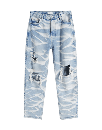 Wave-effect mom jeans - Denim - Woman   Bershka
