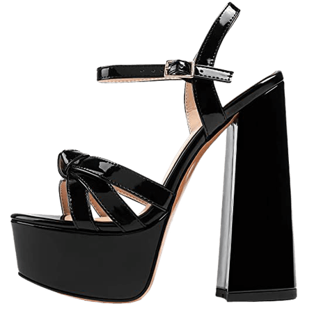 *clipped by @luci-her* Block Heel Sandals, Open Toe Ankle Strap High Heel Summer Shoes