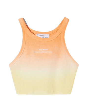 Ribbed top with embroidery - Tees and tops - Woman   Bershka