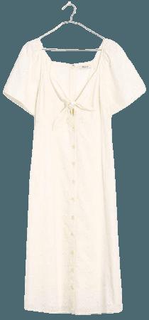 Eyelet Tie-Front Midi Dress
