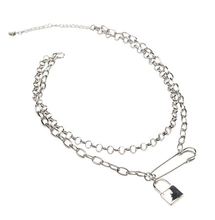 FULL TILT Layered Safety & Lock Necklace - SILVE - MTM0121-1053 | Tillys