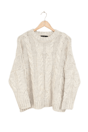 Cozy Beige Sweater - Cable Knit Sweater - Oversized Sweater - Lulus