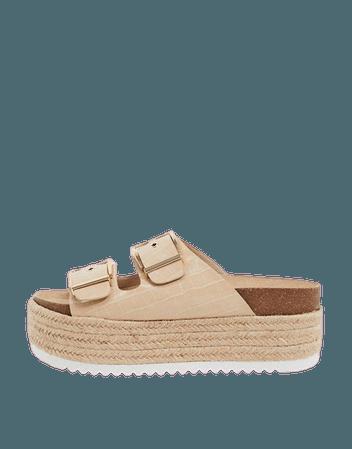 Stradivarius flatform sandal with buckles in beige | ASOS