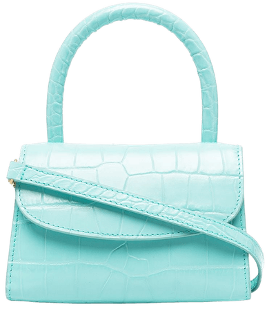 Shop blue BY FAR mini crocodile-embossed leather bag with Express Delivery - Farfetch