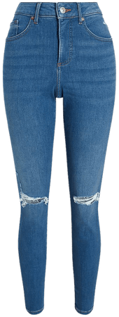 High Waisted Supersoft Ripped Curvy Skinny Jeans | Express