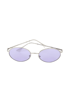 Purple and Silver Sunglasses - Y2K Sunglasses - Oval Sunglasses - Lulus