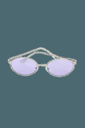 Purple and Silver Sunglasses - Y2K Sunglasses - Oval Sunglasses - Lulus