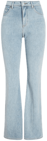 High Waisted Light Wash Curvy Flare Jeans | Express