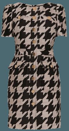 Dogtooth Check Jacquard Short Dress | Karen Millen