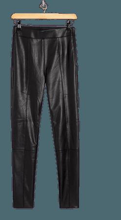 Black Straight Leg Faux Leather Leggings | Topshop