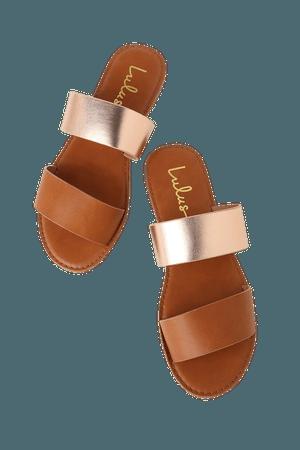 Cute Rose Gold Sandals - Slide Sandals - Flat Sandals - Slides - Lulus