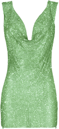 Apple green crystals embellished draped dress | DAN MORE | Official site