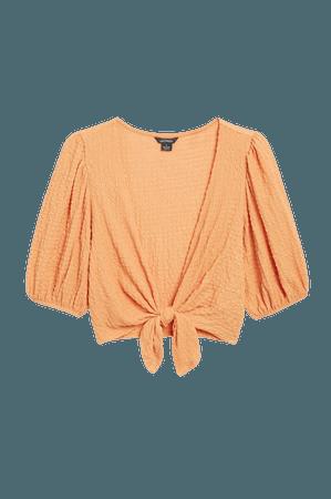 Cropped wrap blouse - Orange - Cropped tops - Monki WW