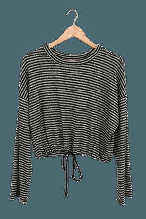 Grey Striped Top - Drawstring Top - Long Sleeve Striped Top - Lulus
