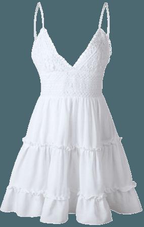 Summer Women Lace Dress Sexy Backless V-neck Beach Dresses Fashion Sleeveless Spaghetti Strap White Casual