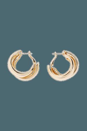 Chunky gold metal hoop earrings - Gold metal - Earrings - Monki WW