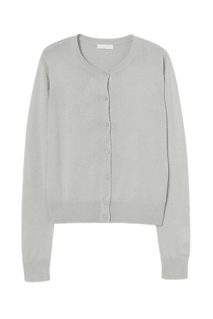 Fine-knit Cardigan - Gray
