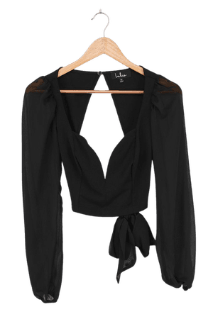 Sexy Black Top - Backless Top - Puff Sleeve Crop Top - Sweetheart - Lulus