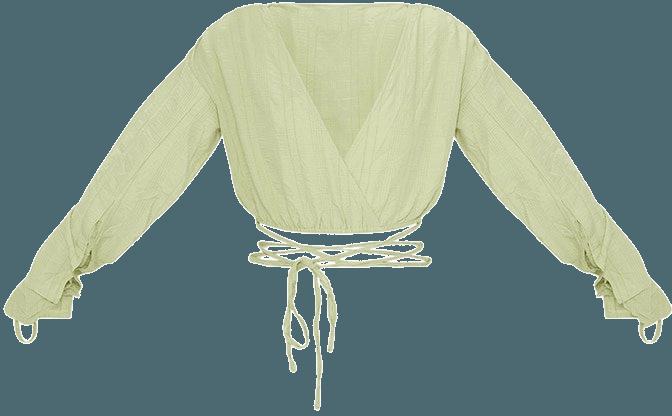 Sage Green Tie Detail Crop Top | Tops | PrettyLittleThing USA